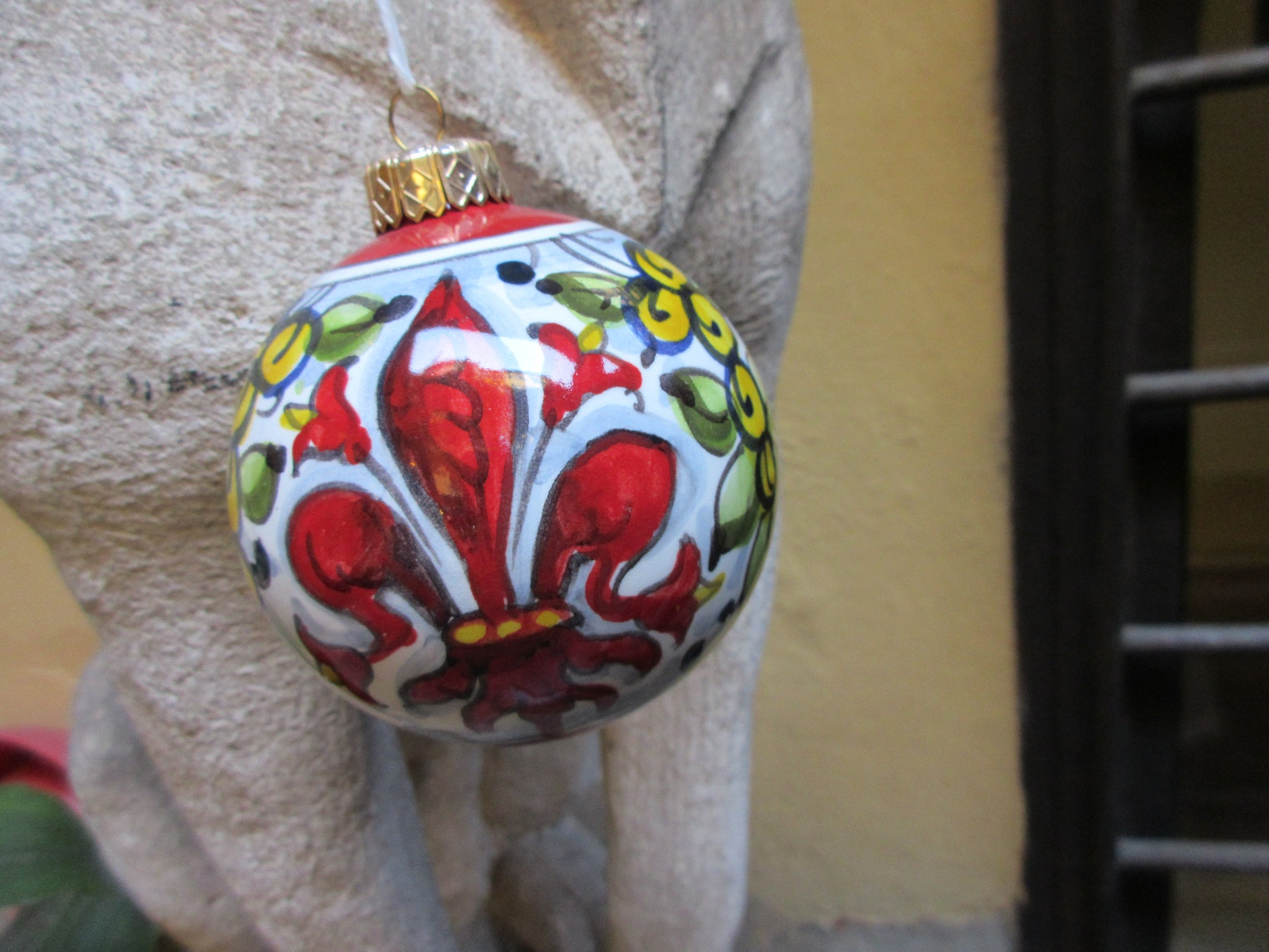 Tuscan ornament handmade, hand-painted with Fleus-de-lis, Florence design