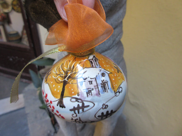Tuscan ornament handmade, hand-painted with Duomo, Florence skyline