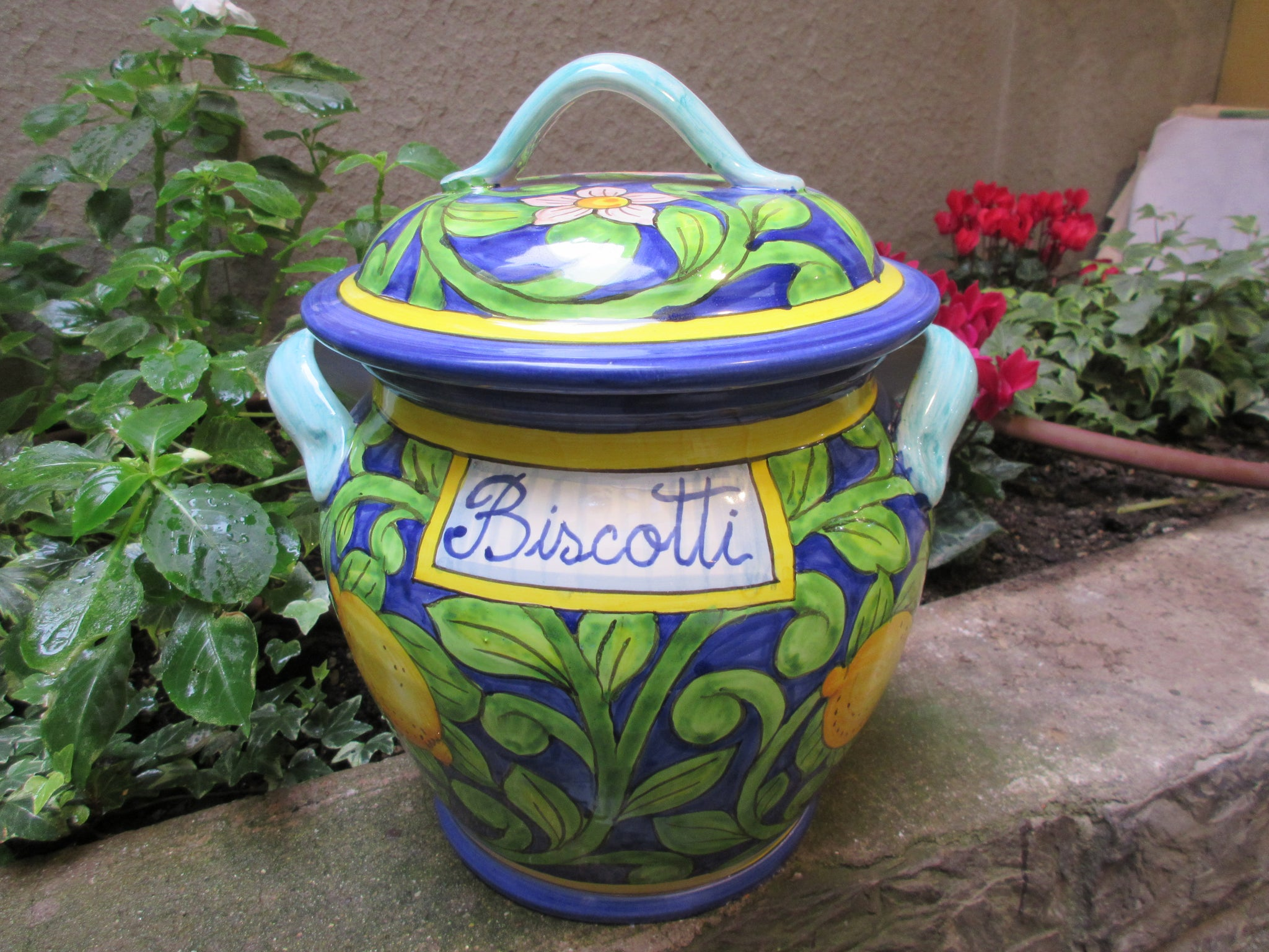 blu ceramic cookie jar