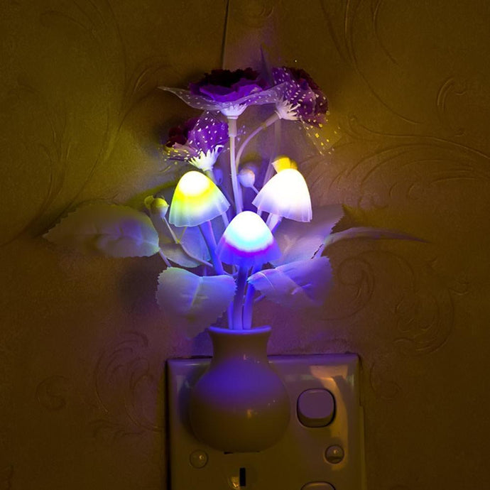 Lovely Colorful LED Lilac Night Light Lamp Mushroom Romantic Lilac Night Lighting For Home Art Decor Illumination US/EU Plug