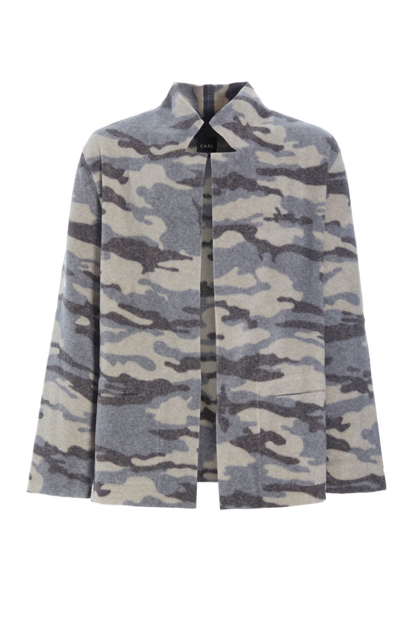 CARL BY STEFFENSEN COPENHAGEN Cardigan with collar and pockets in print - 1001 CARDIGANS CAMOUFLAGE 102