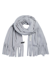 SCARF WITH FRINGES - 4077 - GREY BLUE