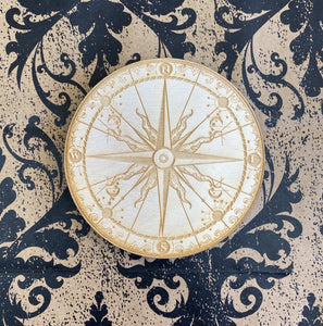 Crystal Grid Wooden Compass Small