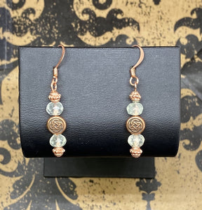 Earrings Copper French Wire Celtic Knot with Faceted Peridot
