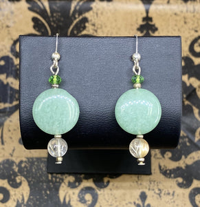 Earrings Sterling Silver French Wire Aventurine with Rutile Quartz and Green Glass Accent