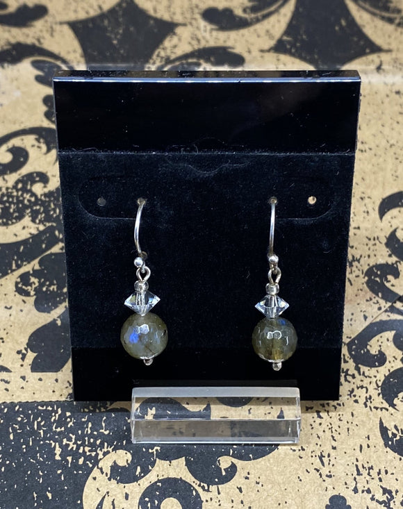 Earrings Sterling Silver French Wire Labradorites with Swarovski Crystal Bead
