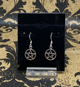 Earrings Sterling Silver French Wire Pentacle
