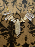 Necklace Antiqued Brass Amphibole Quartz with Clear Quartz and Moonstones and Gold Tone Accents