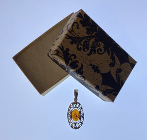 Pendant Sterling Silver Amber Oval Filigree