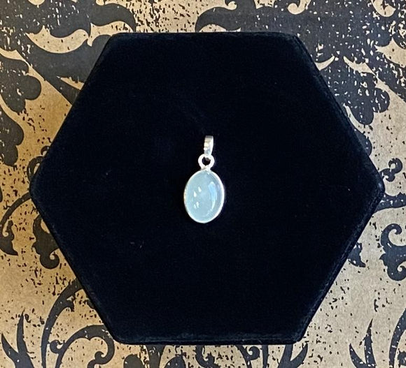 Pendant Sterling Silver Aquamarine Small Oval