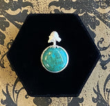 Pendant Sterling Silver Chrysocolla Earth with Tree Bail