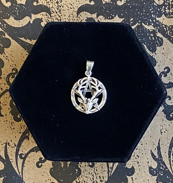 Pendant Sterling Silver Pentacle with Stag
