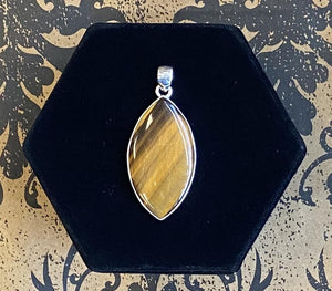 Pendant Sterling Silver Tiger Eye Large