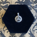 Pendant Sterling Silver Valknut with Runes