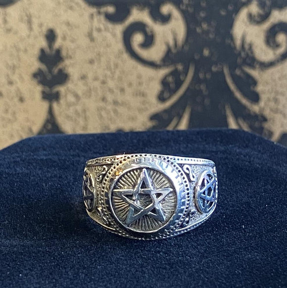 Ring Sterling Silver Mens Pentacle
