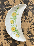 Crescent Moon Plate Small Yellow Roses
