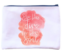 Zipper Pouch White with Black Lettering