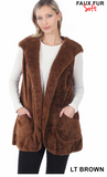 Hooded Faux Fur Cocoon Vest With Side Pockets-Outerwear