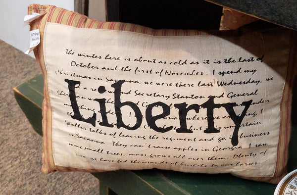 Primitive Red Striped Pillows,  Liberty and Pledge Allegiance