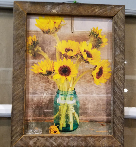 Sunflowers picture, Barn Wood Picture