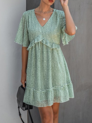 Light Green Print Dress