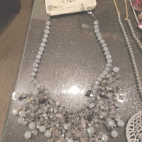 Necklace- gray crystals