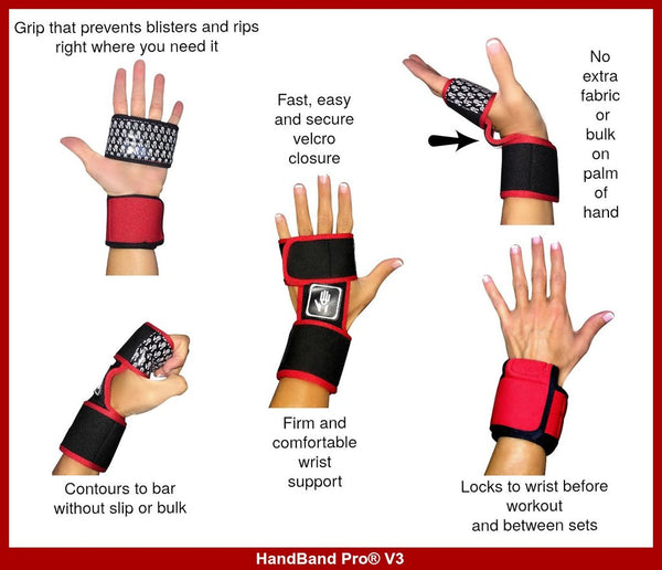 HANDBAND PRO® V3 GRIPS WITH WRIST SUPPORT PROTECTS YOUR HANDS FROM BLISTERS AND RIPS. BEST WORKOUT GLOVES