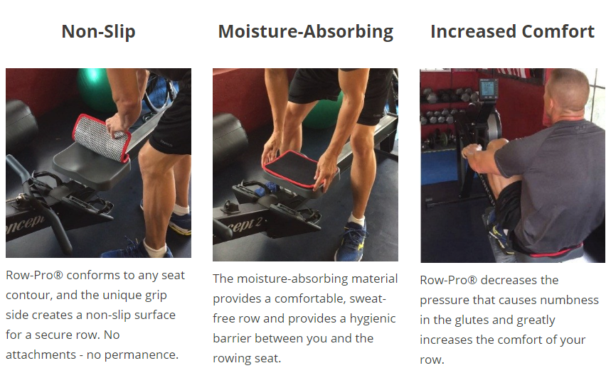 The Row Pro Hygienic Rower Seat Pad is great for a comfortable, germ-free row on a shared Concept2 Rower