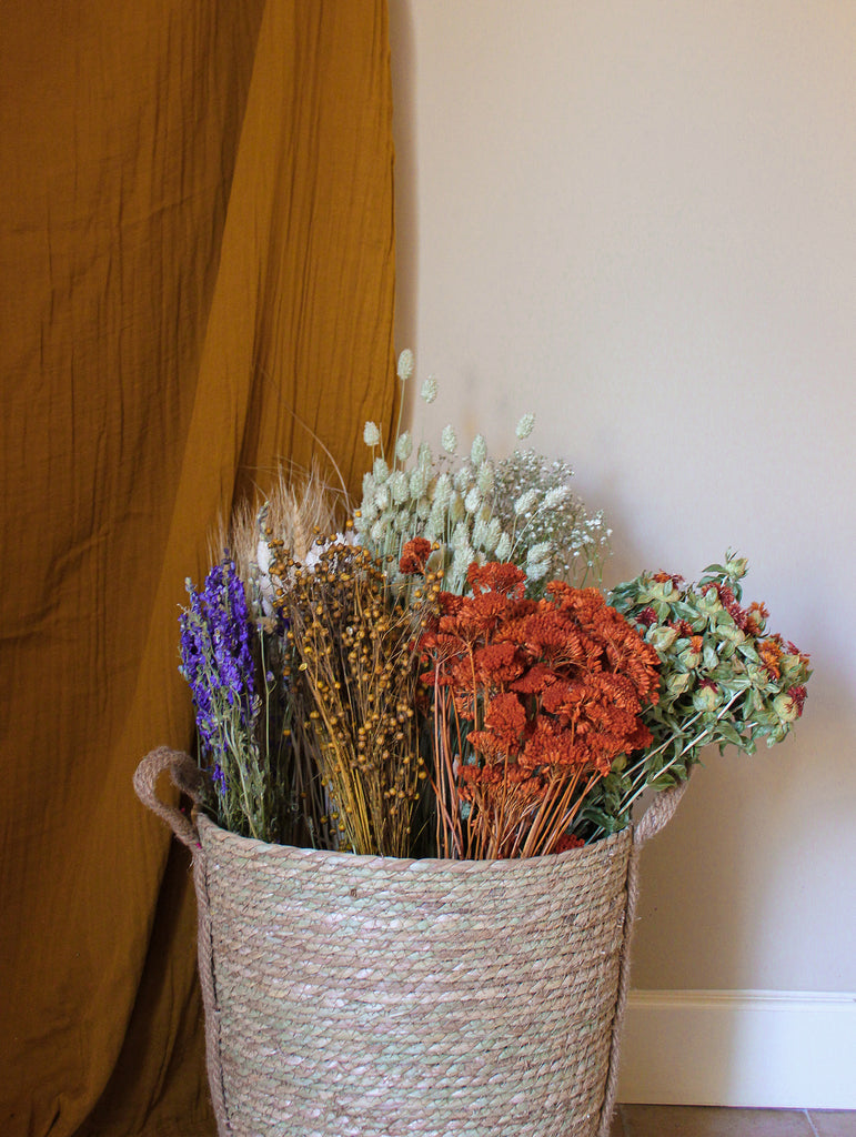 Gedroogde bos Achillea - terra - droogbloemen - flowers to stay fts atelier  mand