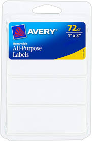 "1""x3"" Avery Multi-use White Removable Labels 72ct"