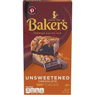 Baker's Unsweetened 100% Cacao Baking Chocolate Bar, 4 oz Box