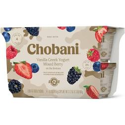 Chobani Vanilla Greek Yogurt w/ Mixed Berry on the Bottom 4pk