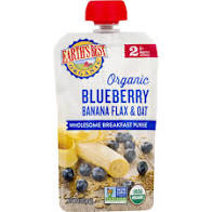 Earth's Best Organic Blueberry Banana Flax & Oat Baby Food Pouch 4oz