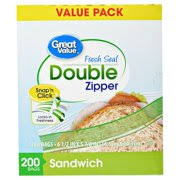 Great Value Double Zipper Sandwich Bags 200ct