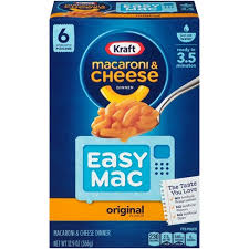 Kraft Easy Mac Original Flavor Macaroni & Cheese Dinner, 6 Packets, 12.9 oz