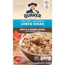 Quaker Lower Sugar Instant Oatmeal Maple & Brown Sugar  10ct