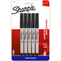 Sharpie Ultra Fine Black Permanent Markers 5ct