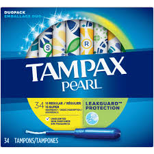 Tampax Pearl Tampons Regular/Super Absorbency with LeakGuard Braid Unscented 34ct