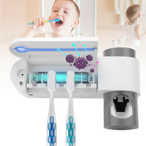 Toothbrush UVC Sterilizer with automatic Toothpaste dispenser - UV Home Disinfection