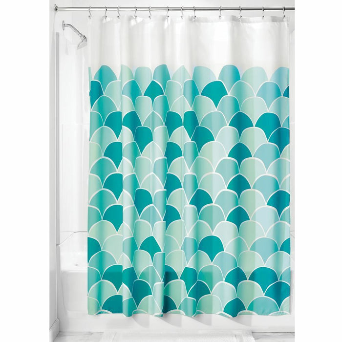 Fabric Shower Curtain - Scales Teal