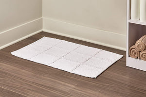 Grid Cotton Bath Mat - White
