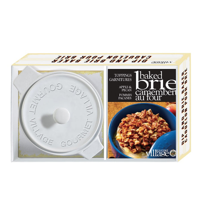 Gourmet Du Village White Brie Baker Gift Set with Apple Pecan Topping