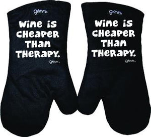 Fun Oven Mitt Set - Wine Cheaper Than Therapy