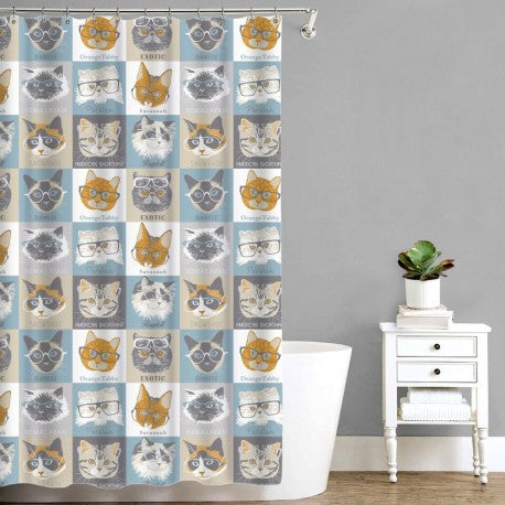 Peva Shower Curtain - Cats