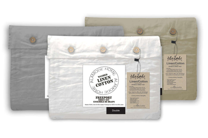 Alamode Freeport Linen Sheet Set - Sand