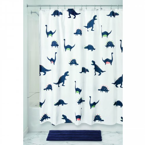 Fabric Shower Curtain - Dino Blue