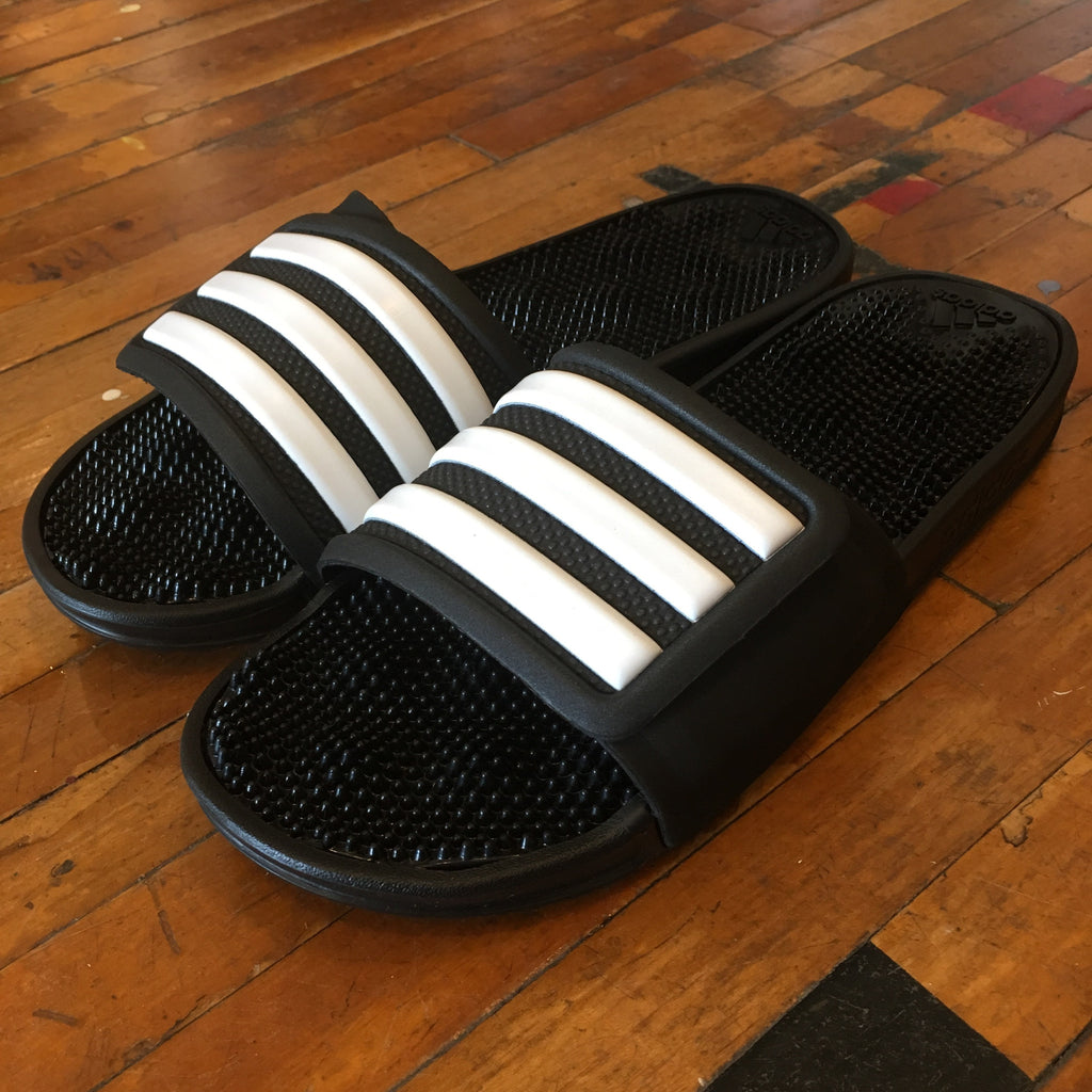 "Adidas Adissage 2.0 ""3-Stripes Slides"" (Core Black/Flat White) - Epocha Shoe Gallery"