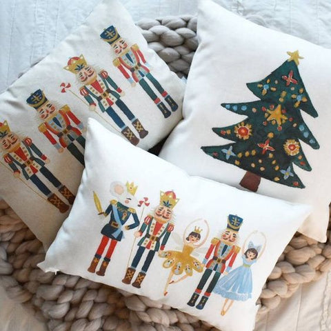 Nutcracker Pillow Rustic Christmas