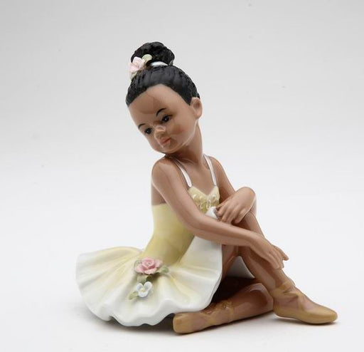 Porcelain African American Ballerina Figurine with Yellow Dress - Nutcracker Ballet Gifts