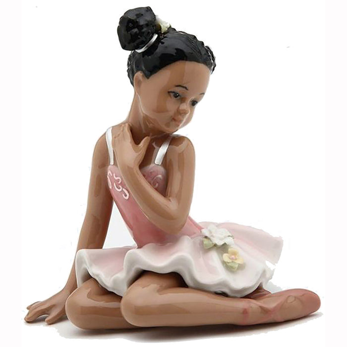 Porcelain African American Ballerina Figurine Sitting with Pink Dress - Nutcracker Ballet Gifts